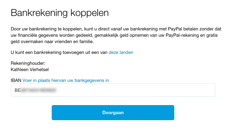 PayPal - een bankrekening koppelen