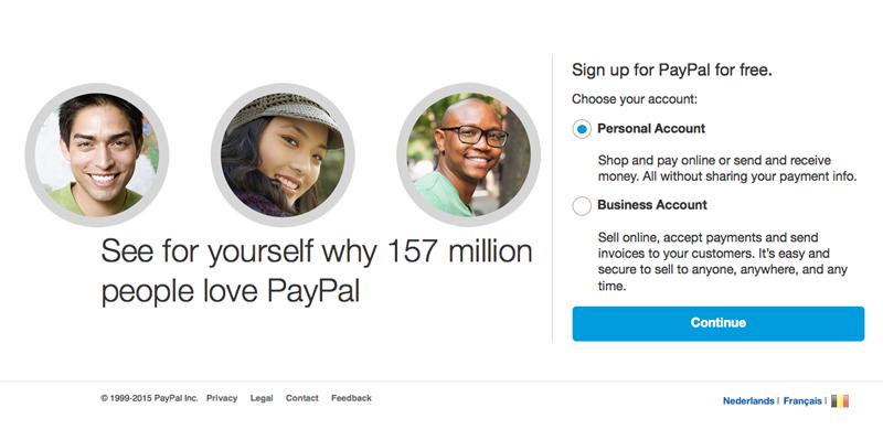 PayPal account aanmaken